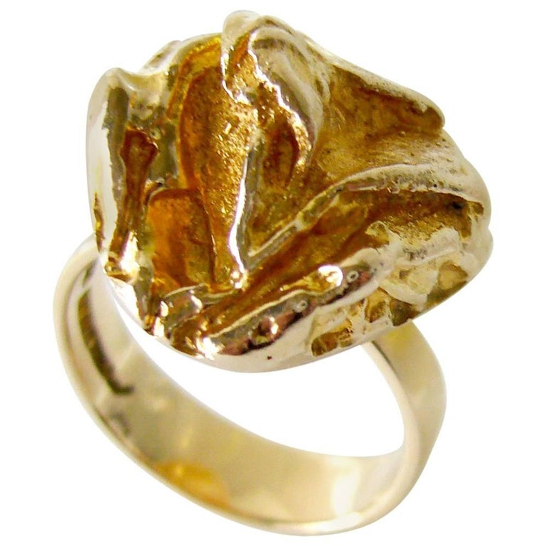 Bjorn Weckstrom for Lapponia Gold Yellow Rose Engagement Ring For Sale