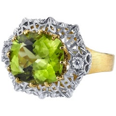 5.70 Carat Peridot and Diamond Ring 18k White and Yellow Gold