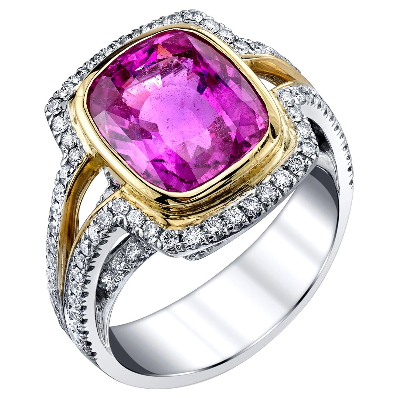 6.56 Carat Pink Sapphire GIA, Diamond 18k White, Yellow Gold Bezel Cocktail Ring