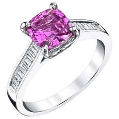 1.78 Carat Pink Sapphire and Diamond Baguette 18k White Gold Engagement Ring