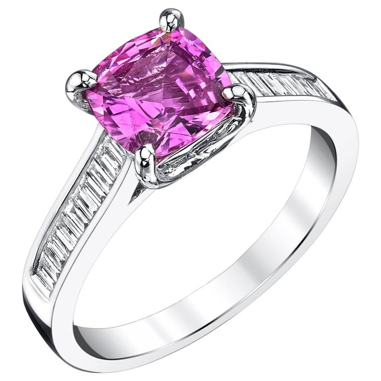 1.78 Carat Pink Sapphire and Diamond Baguette Ring 18k White Gold For Sale