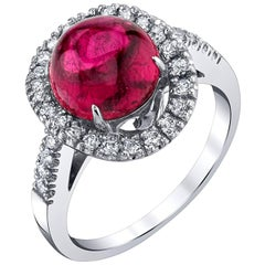 2.40 Carat  Dark Pink Tourmaline Cabochon and Diamond Ring 18k White Gold