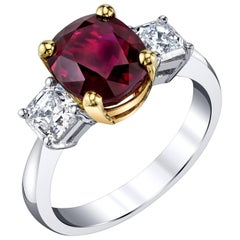 4.00 ct. Pigeon's Blood GIA Burma Ruby, Diamond, Platinum, 18k Gold 3-Stone Ring