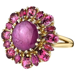 5.83 Carat Star Ruby Cabochon & Garnet Cocktail Ring 18k Yellow Gold
