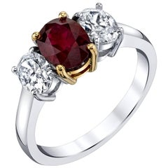 1.68 Carat Burmese Ruby and Diamond 18k White Gold 3-Stone Engagement Ring