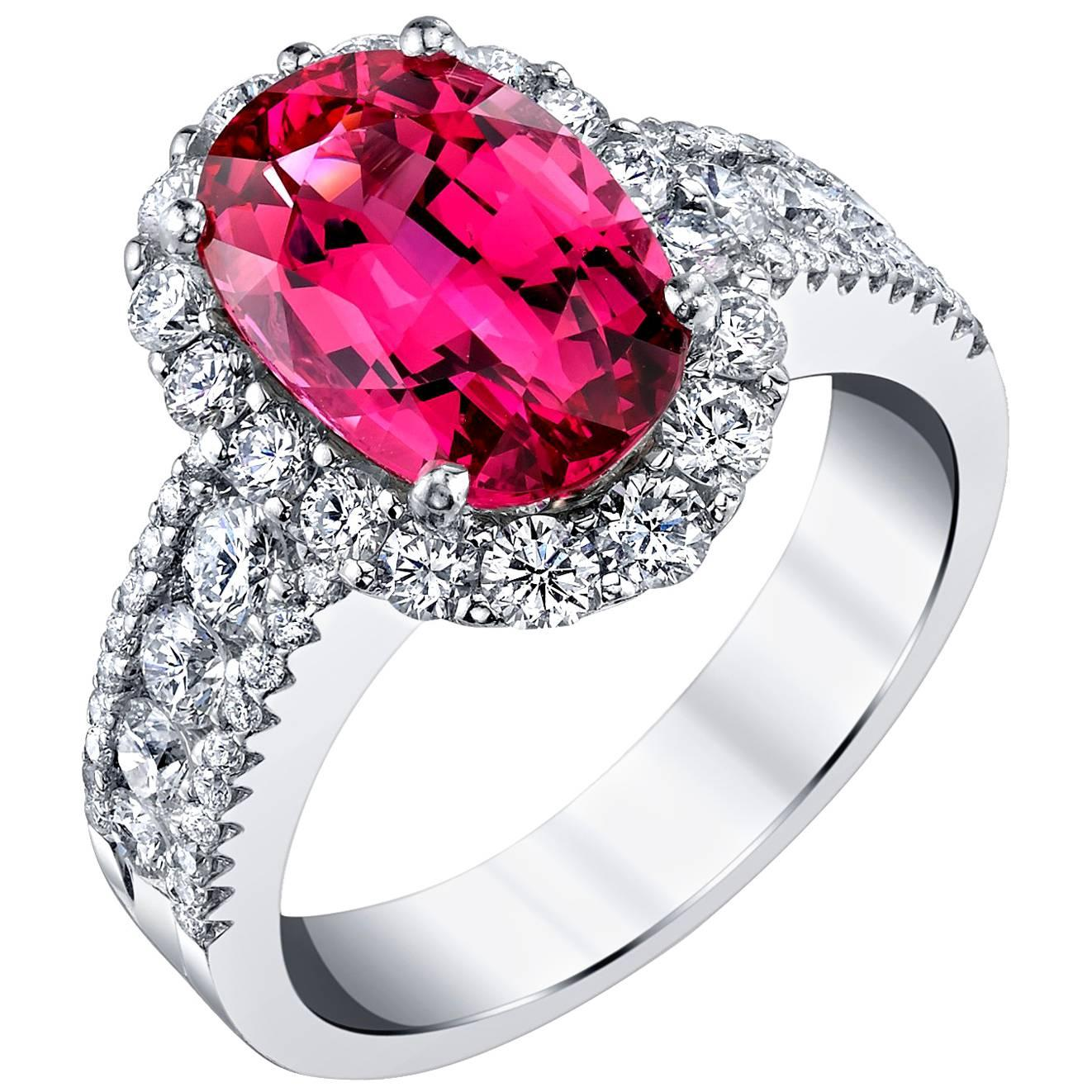 3.63 Carat Red Spinel, Diamond Halo 18k White Gold Cocktail Band Engagement Ring