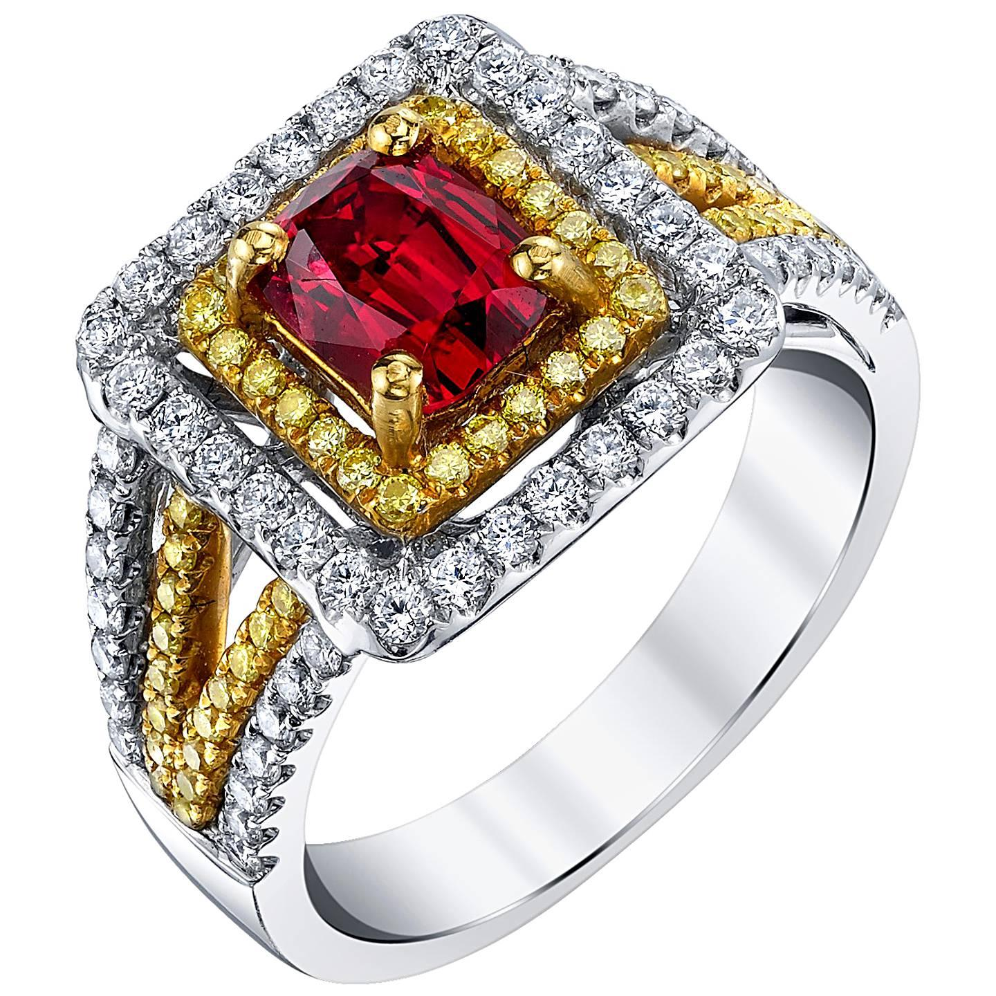 1.23 Carat Burmese Red Spinel Diamond 18k Gold Yellow and White Square Halo Ring