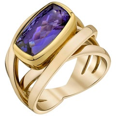 Bezel Set 6.02 Carat Cushion Cut Tanzanite Band Ring 18k White & Yellow Gold