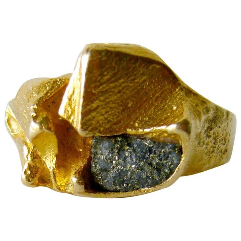 "Bjorn Weckstrom ""Polyphemus"" Gold Copper Ore Ring For Sale"