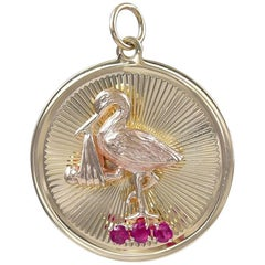Gold Baby and Stork Charm