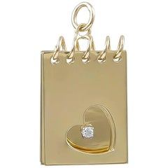 Adorable Gold Notepad Charm