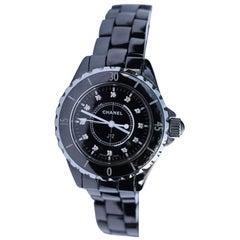Chanel Ladies Ceramic J12 Diamond Dot Quartz Wristwatch