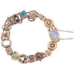 1890s Gem Set Gold Slide Bracelet