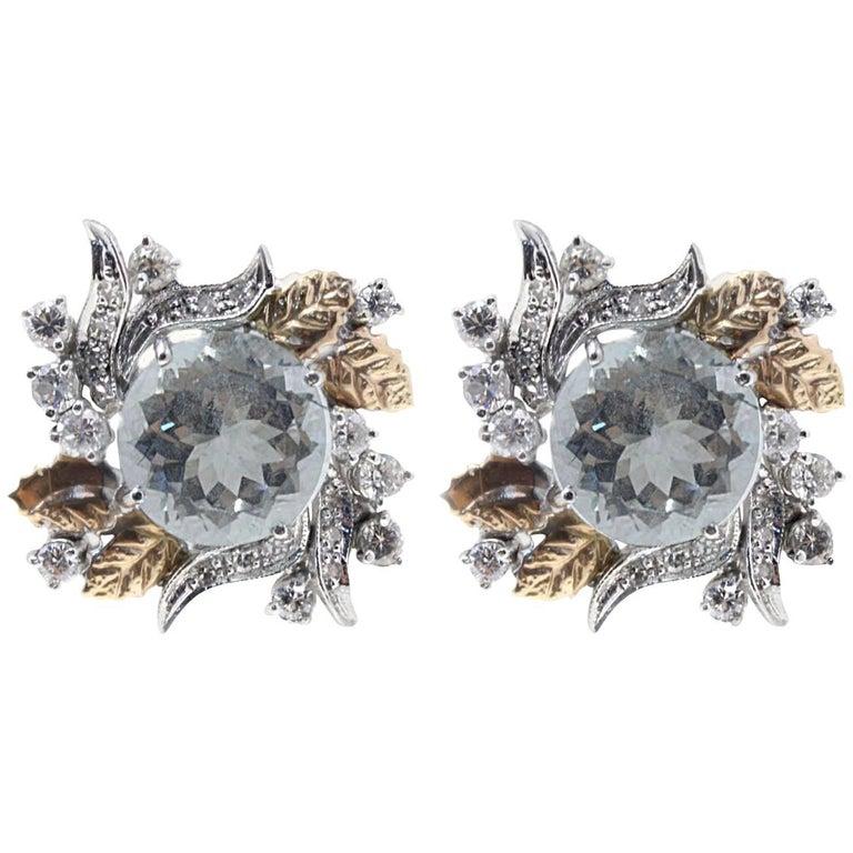 Diamond and Aquamarine Stud Gold Earrings