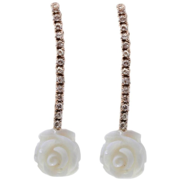 White Coral and Diamond Dangle Gold Earrings