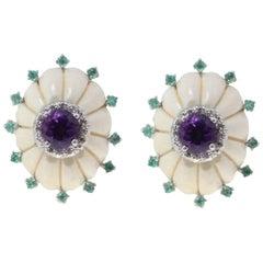 Luise Bone Emerald Diamond Amethyst Stud Earrings