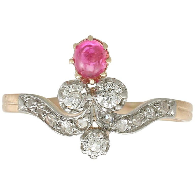 1890s Ruby and Diamond Yellow Gold Cocktail Ring