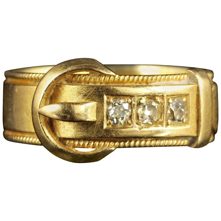 Antique Victorian Diamond Buckle Ring 18 Carat Gold Dated 1883