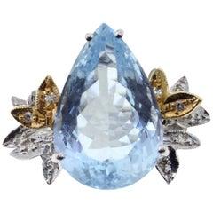 Gold Diamond Aquamarine Ring