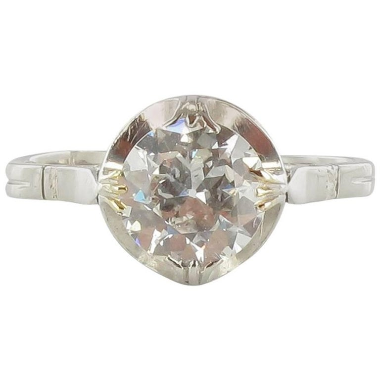 1900s 18 Carat White Gold 1.20 Carat Brillant Cut Diamond Solitaire Ring