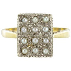 19th Century Rectangular Shape 18 Karats Yellow Gold Natural Pearls Ring