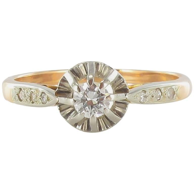 French 19th Century Diamond Rose Gold Solitaire Engagement Ring