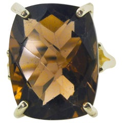 19.9 Carat Large Sparkling Smoky Quartz Sterling Silver Party Ring