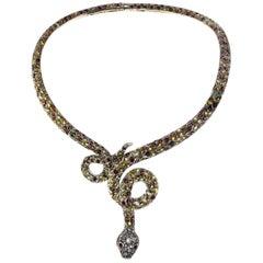 Luise Gold Silver Diamond Topaz Garnet Necklace