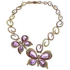 Luise Rose Gold Diamond Amethyst Topaz Peridot Tourmaline Tsavorite Necklace