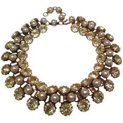 Schreiner Deco Rhinestone Pearl Costume Choker Necklace