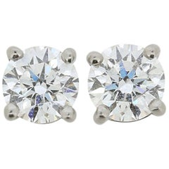 Tiffany & Co. 1.10 Carat Solitaire Diamond Earrings