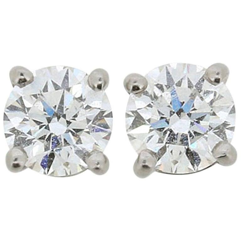 Tiffany & Co. 1.10 Carat Solitaire Diamond Earrings