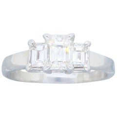 Three Stone .62 Carat Diamond White Gold Engagement Ring