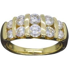 Diamond Yellow Gold Double Band Ring