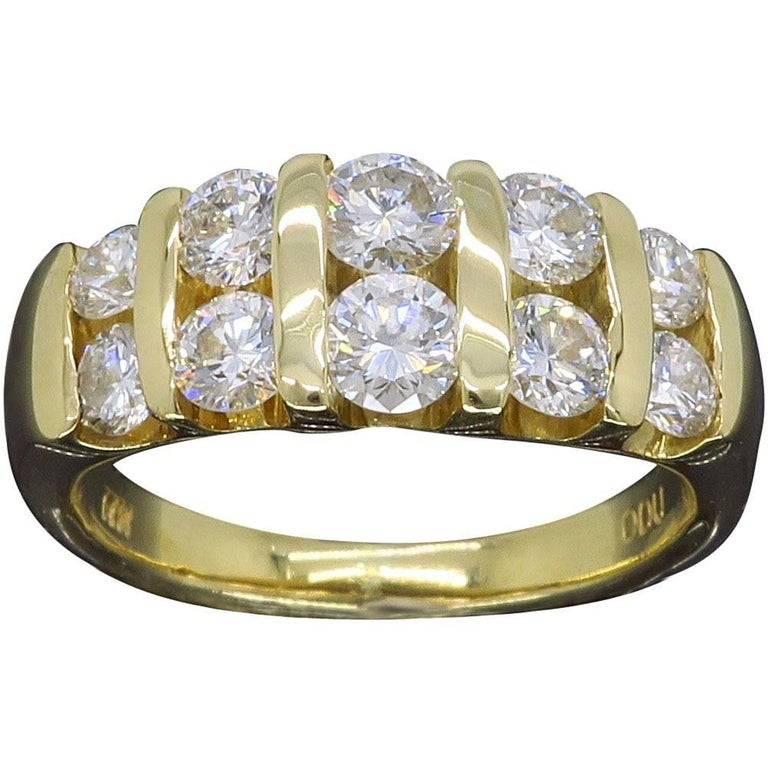 Diamond Yellow Gold Double Band Ring For Sale at 1stdibs