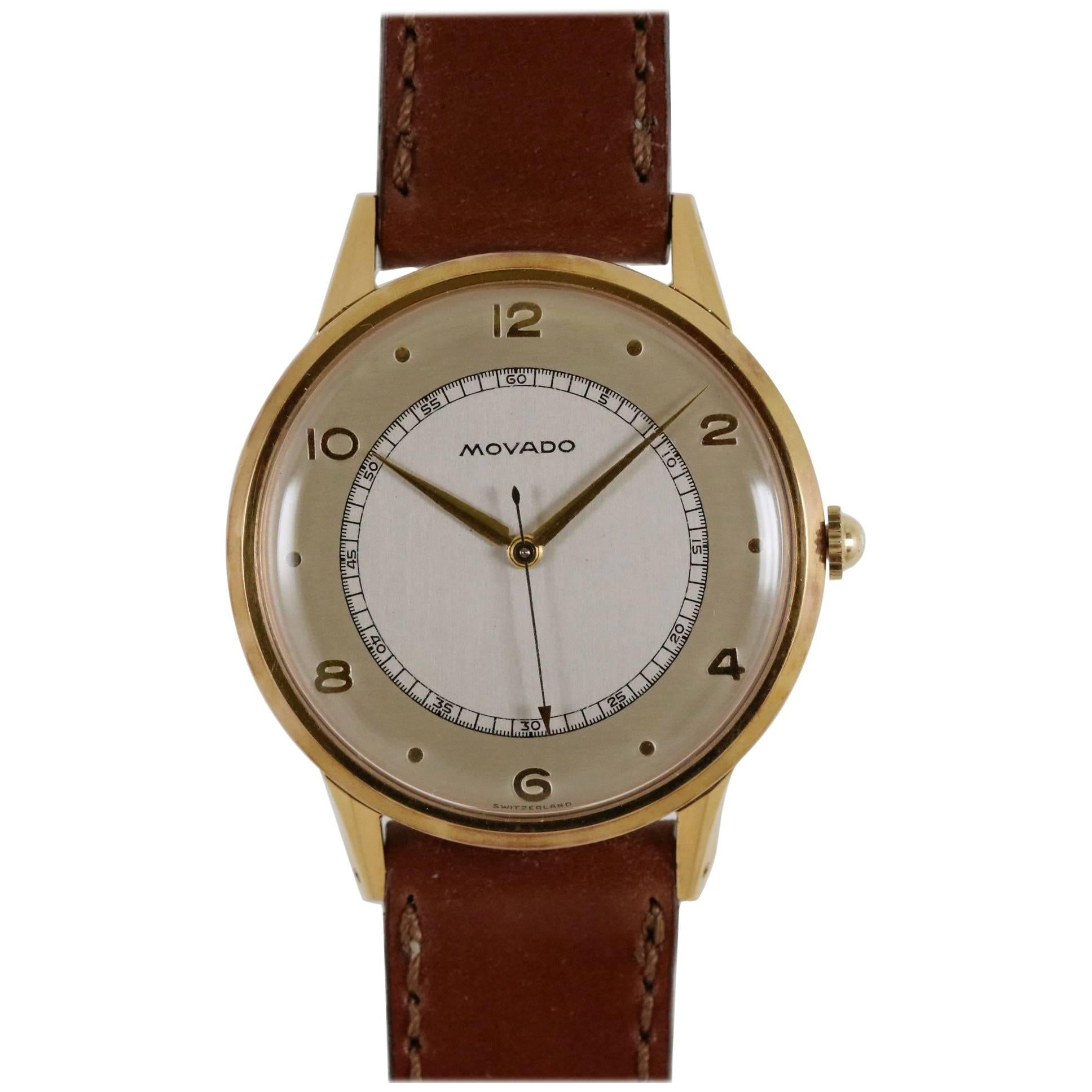 Movado Yellow Gold Plated Stainless Steel Manual Wind Dress Wristwatch