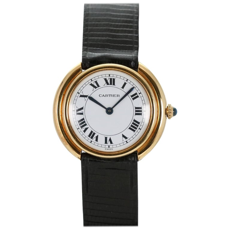Cartier Yellow Gold Oval Automatic Wristwatch 1