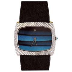 Corum White Gold Diamond Feathered Friend Bird Feather Wristwatch