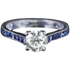 Antique Edwardian Diamond Engagement Ring Sapphire Shoulders