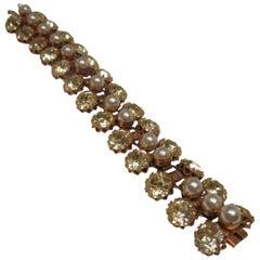Schreiner Rhinestone Pearl Costume Bracelet