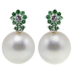 Luise Gold Diamond Tsavorite Australian Pearl Earring
