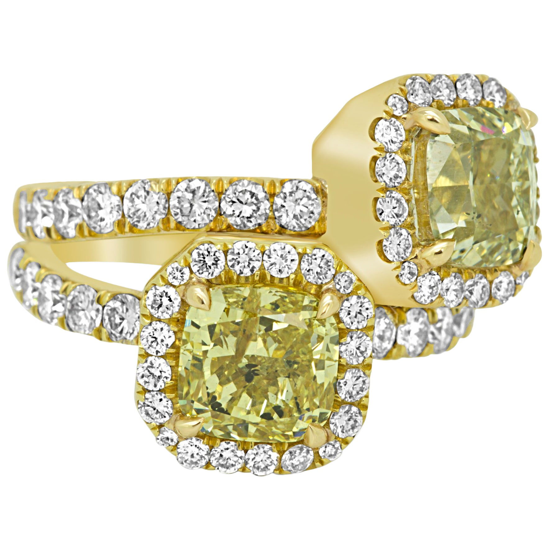 GIA Certified Natural Green and Yellow Diamond Twotone Gold Halo Toi Et Moi Ring