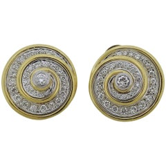 1980s Gold Diamond Swirl Earrings