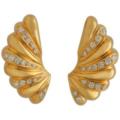 Diamond Gold Ribbed Earrings