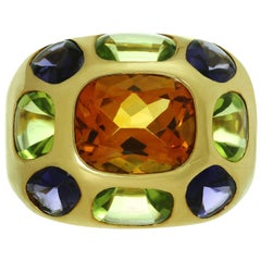 Chanel Coco Multi-Color Gemstone Yellow Gold Dome Band Ring