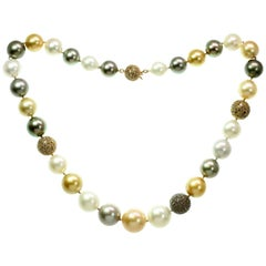 Spectacular South Sea Multi-Color Pearl Champagne Diamond Rose Gold Necklace