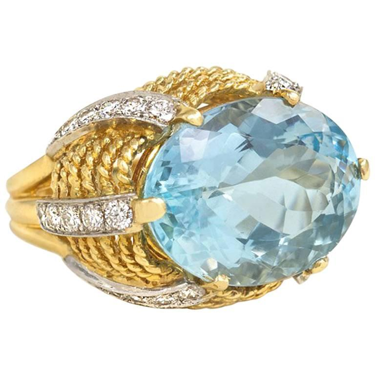 1960s Aquamarine Diamond Accent Gold Cocktail Ring  For Sale