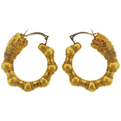 Large Lalaounis Gold Chimera Hoop Earrings