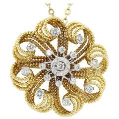 Retro Yellow Gold Diamond Flower Swirl Pendant Necklace