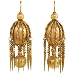 Victorian Gold Ball Earrings with Chain Fringe